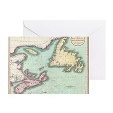 Vintage Map of Nova Scotia and Newfo Greeting Card