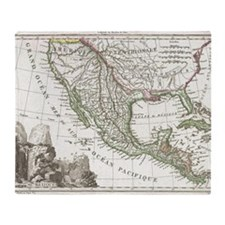 Vintage Map of Texas and Mexico Terr Throw Blanket