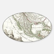 Vintage Map of Texas and Mexico Ter Decal
