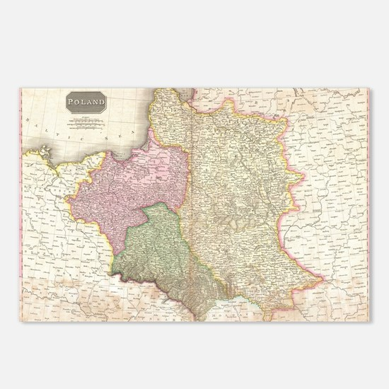 Vintage Map of Poland (18 Postcards (Package of 8)