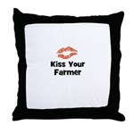 Kiss Your Farmer Throw Pillow