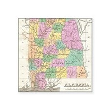 "Vintage Map of Alabama (182 Square Sticker 3"" x 3"""
