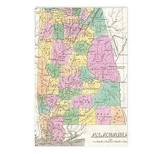 Vintage Map of Alabama (1 Postcards (Package of 8)