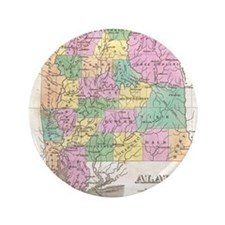 Vintage Map of Alabama (1827) Button