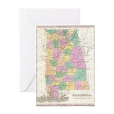 Vintage Map of Alabama (1827) Greeting Card