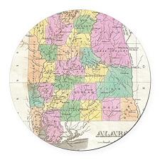 Vintage Map of Alabama (1827) Round Car Magnet