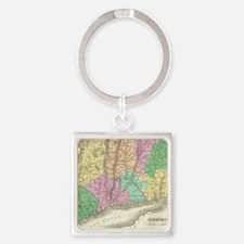 Vintage Map of Connecticut (1827) Square Keychain