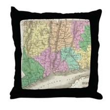 Vintage Map of Connecticut (1827) Throw Pillow