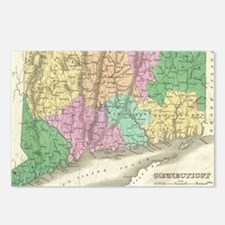 Vintage Map of Connecticu Postcards (Package of 8)