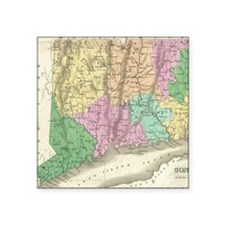 "Vintage Map of Connecticut  Square Sticker 3"" x 3"""