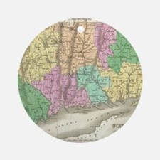 Vintage Map of Connecticut (1827) Round Ornament