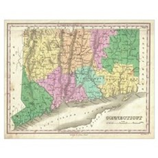 Vintage Map of Connecticut (1827) Poster