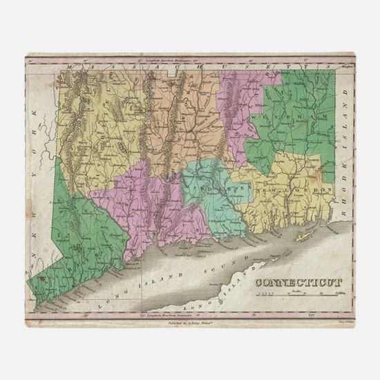Vintage Map of Connecticut (1827) Throw Blanket