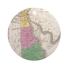Vintage Map of Delaware (1827) Round Ornament