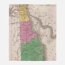 Vintage Map of Delaware (1827) Throw Blanket