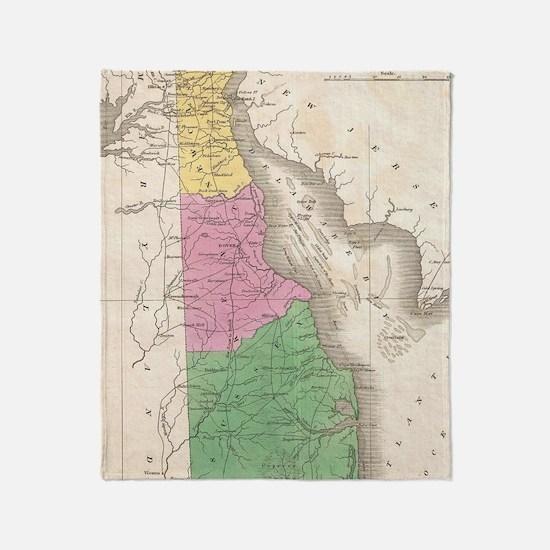 Vintage Map of Delaware (1827) Throw Blanket