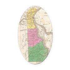 Vintage Map of Delaware (1827) Oval Car Magnet