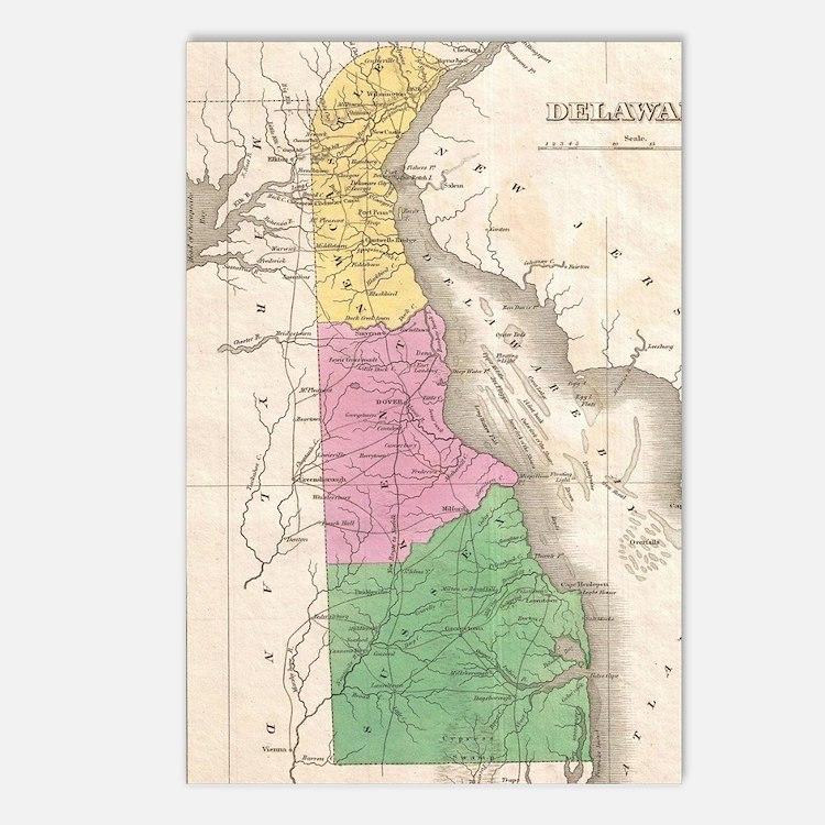 Vintage Map of Delaware ( Postcards (Package of 8)