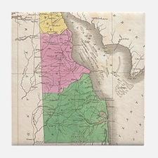 Vintage Map of Delaware (1827) Tile Coaster