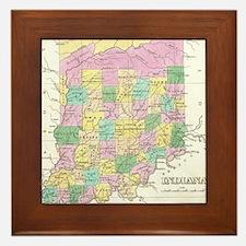 Vintage Map of Indiana (1827) Framed Tile