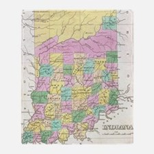 Vintage Map of Indiana (1827) Throw Blanket