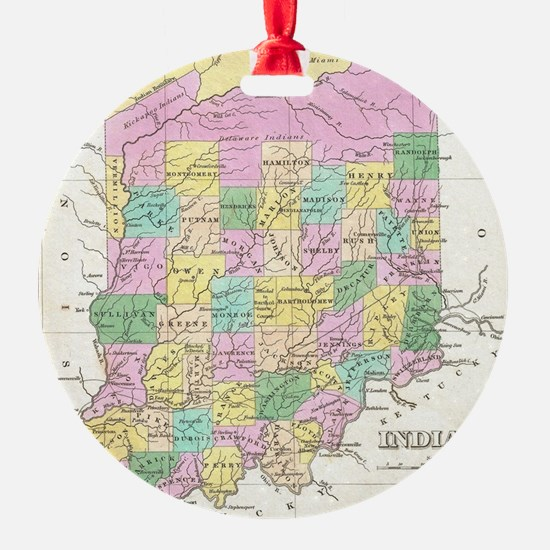 Vintage Map of Indiana (1827) Ornament