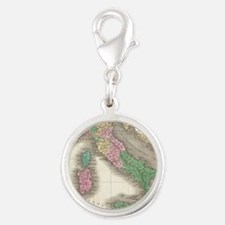 Vintage Map of Italy (1827) Silver Round Charm