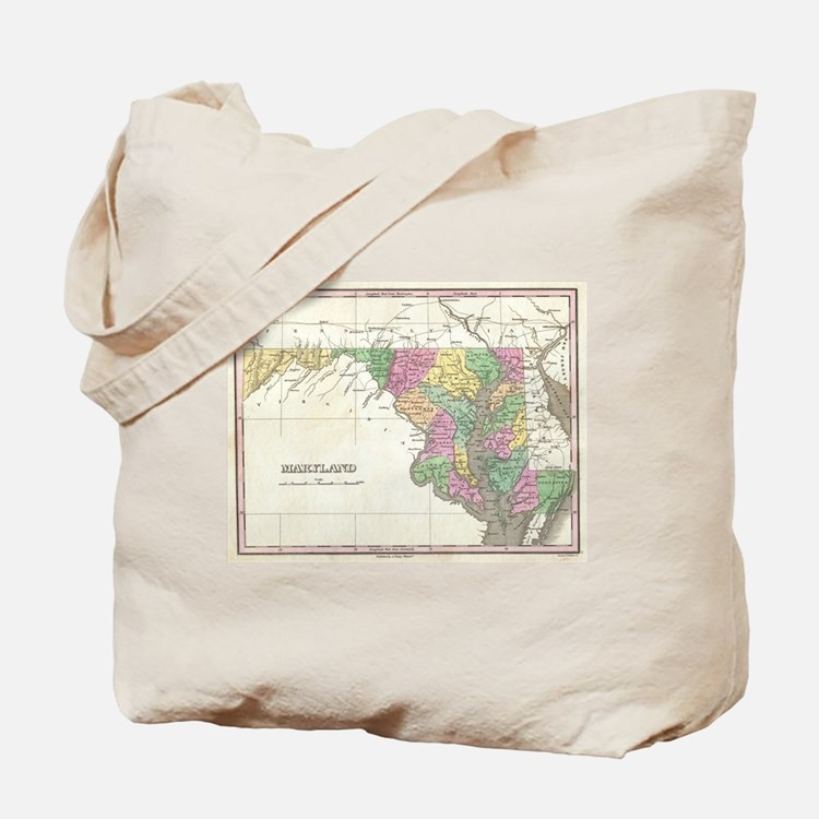 Vintage Map of Maryland (1827) Tote Bag