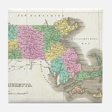 Vintage Map of Massachusetts (1827) Tile Coaster
