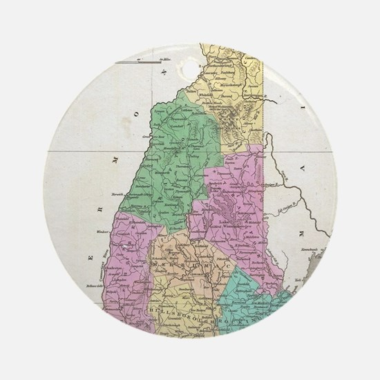 Vintage Map of New Hampshire (1827) Round Ornament