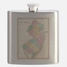 Vintage Map of New Jersey (1827) Flask