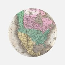 Vintage Map of North America (1827) Button