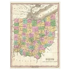 Vintage Map of Ohio (1827) Poster