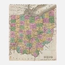 Vintage Map of Ohio (1827) Throw Blanket