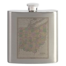 Vintage Map of Ohio (1827) Flask
