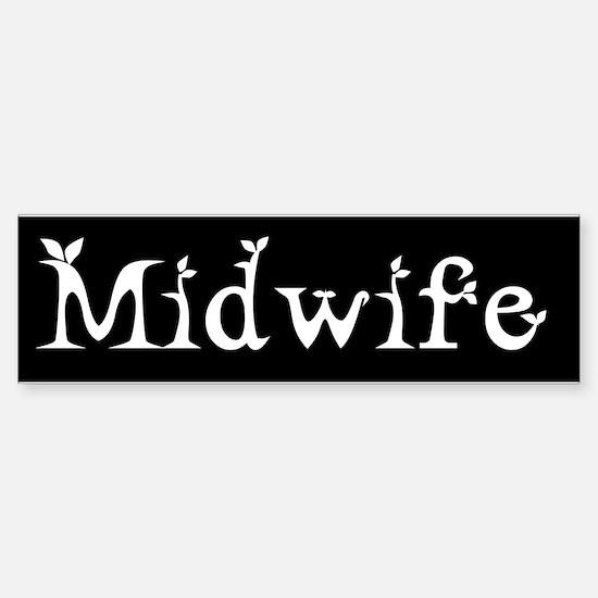 Midwife Black and White Bumper Bumper Bumper Sticker