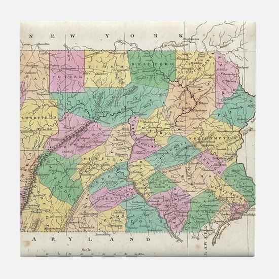 Vintage Map of Pennsylvania (1827) Tile Coaster