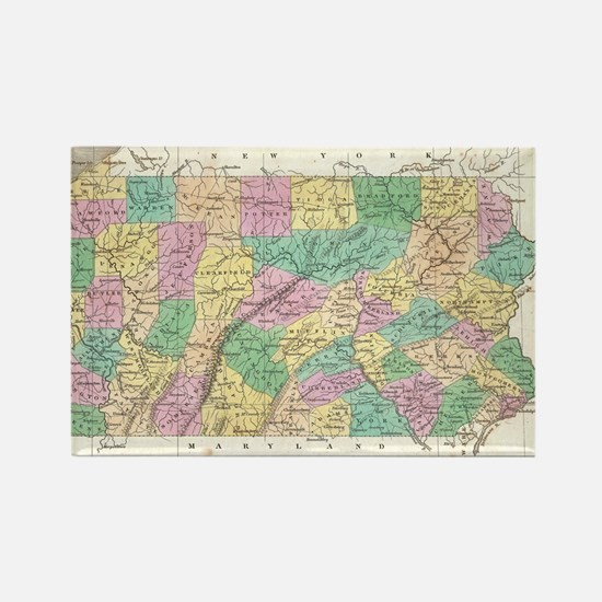Vintage Map of Pennsylvania (1827 Rectangle Magnet