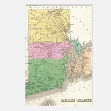 Vintage Map of Rhode Isla Postcards (Package of 8)