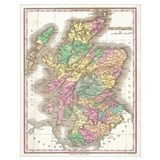 Map of scotland Wrapped Canvas Art