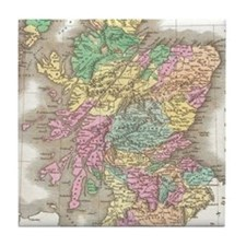 Vintage Map of Scotland (1827) Tile Coaster