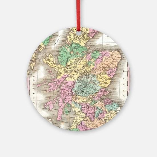 Vintage Map of Scotland (1827) Round Ornament