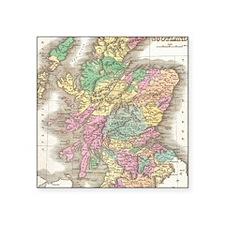 "Vintage Map of Scotland (18 Square Sticker 3"" x 3"""