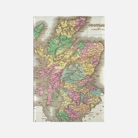 Vintage Map of Scotland (1827) Rectangle Magnet