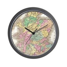 Vintage Map of Scotland (1827) Wall Clock
