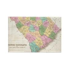 Vintage Map of South Carolina (18 Rectangle Magnet