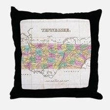Vintage Map of Tennessee (1827) Throw Pillow