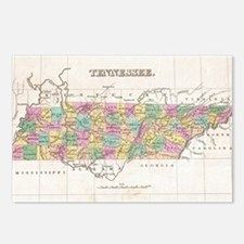 Vintage Map of Tennessee  Postcards (Package of 8)