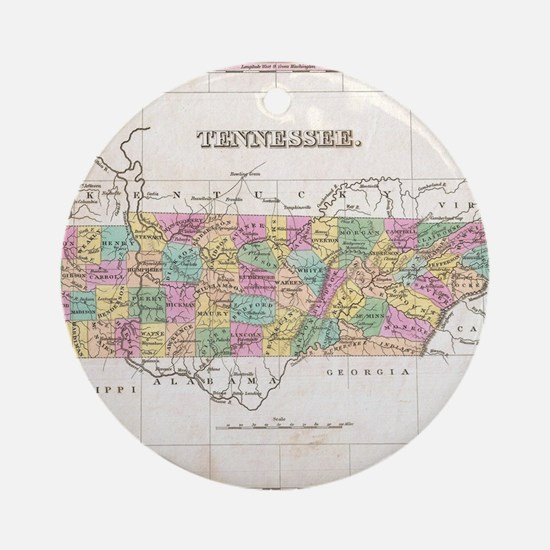 Vintage Map of Tennessee (1827) Round Ornament
