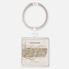 Vintage Map of Tennessee (1827) Square Keychain